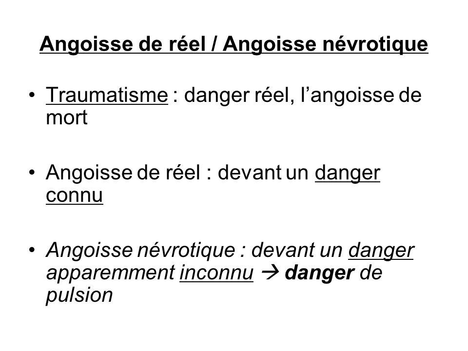 Angoisse de réel / Angoisse névrotique Traumatisme : danger réel, langoisse de mort Angoisse de réel : devant un danger connu Angoisse névrotique : de