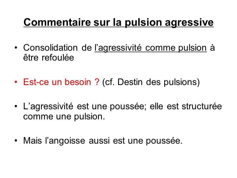 Commentaire sur la pulsion agressive Consolidation de lagressivité comme pulsion à être refoulée Est-ce un besoin ? (cf. Destin des pulsions) Lagressi