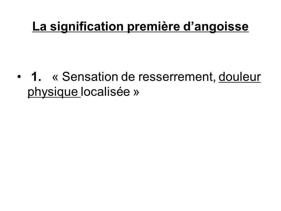La signification première dangoisse 1. « Sensation de resserrement, douleur physique localisée »