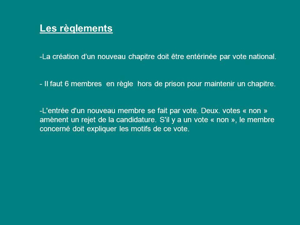 Les rèqIements -La création dun nouveau chapitre doit être entérinée par vote national. - Il faut 6 membres en règle hors de prison pour maintenir un