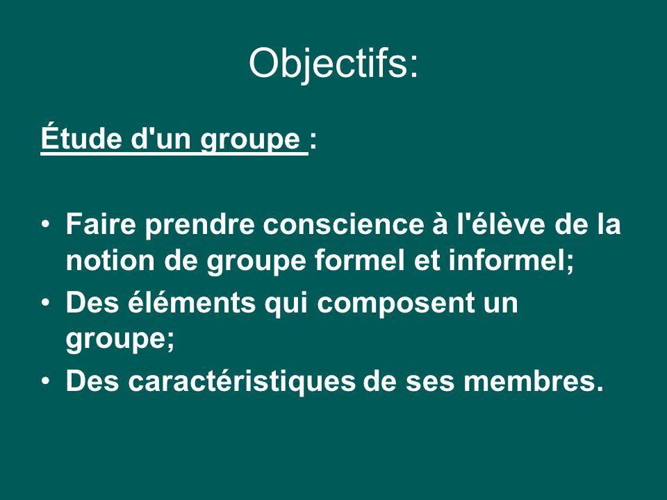 Objectifs: Étude d un groupe : Faire prendre conscience à l élève de la notion de groupe formel et informel; Des éléments qui composent un groupe; Des caractéristiques de ses membres.