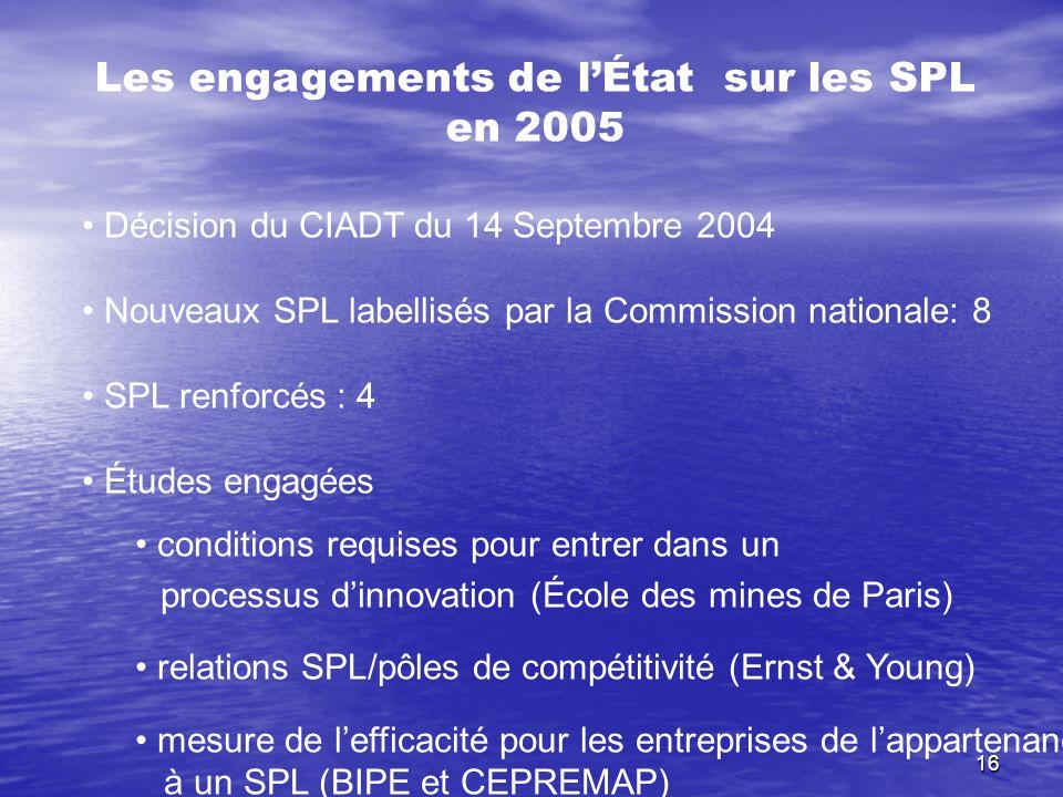 16 Les engagements de lÉtat sur les SPL en 2005 Décision du CIADT du 14 Septembre 2004 Nouveaux SPL labellisés par la Commission nationale: 8 SPL renf