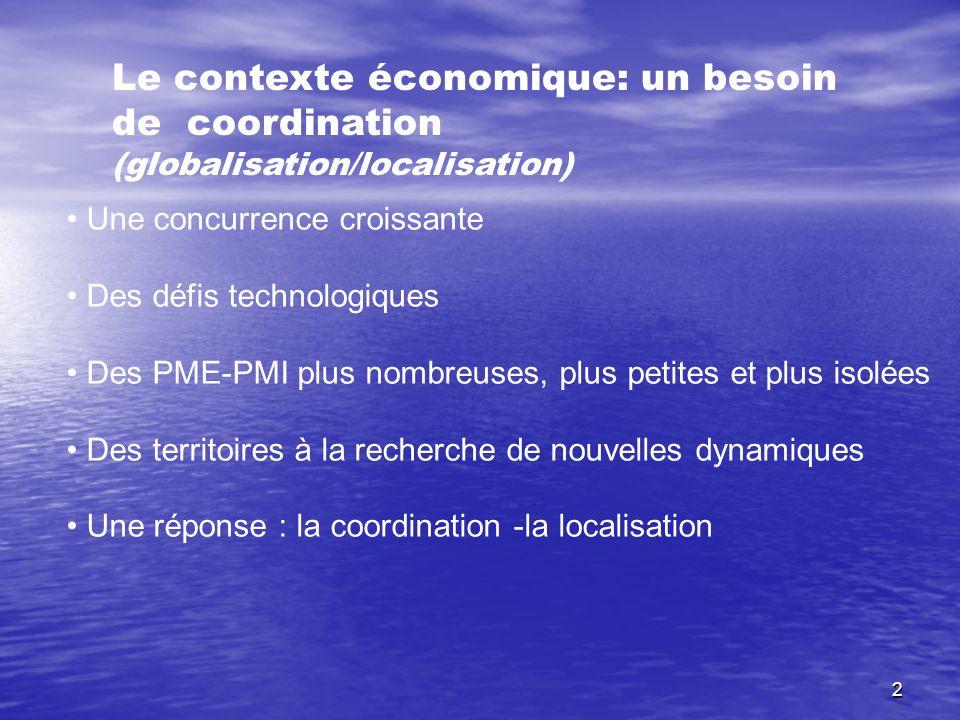 2 Le contexte économique: un besoin de coordination (globalisation/localisation) Une concurrence croissante Des défis technologiques Des PME-PMI plus
