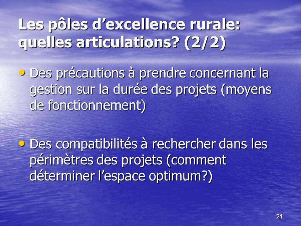 21 Les pôles dexcellence rurale: quelles articulations? (2/2) Des précautions à prendre concernant la gestion sur la durée des projets (moyens de fonc