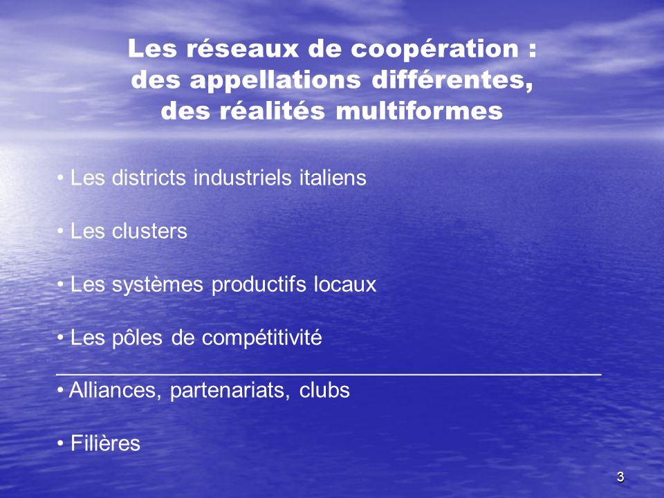 3 Les réseaux de coopération : des appellations différentes, des réalités multiformes Les districts industriels italiens Les clusters Les systèmes pro