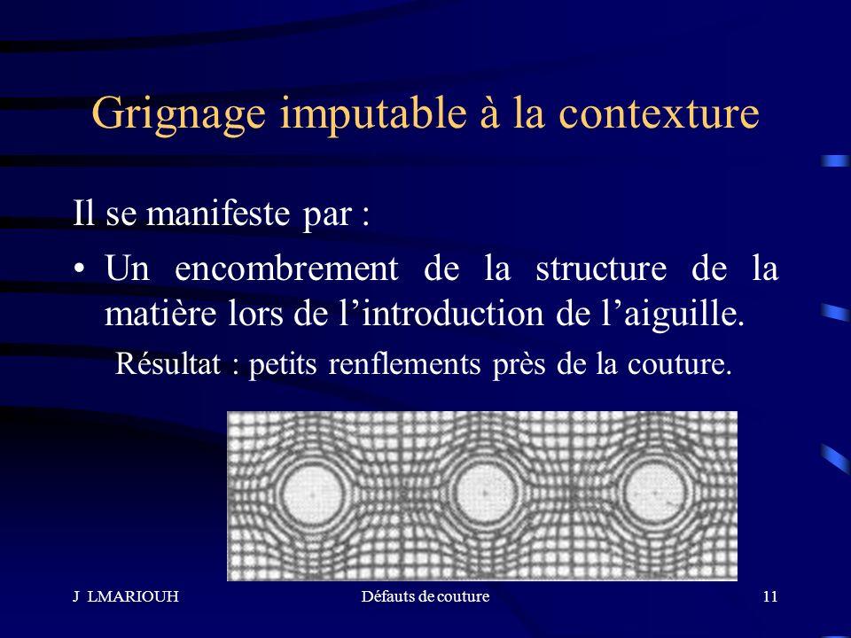 J LMARIOUHDéfauts de couture11 Grignage imputable à la contexture Il se manifeste par : Un encombrement de la structure de la matière lors de lintrodu
