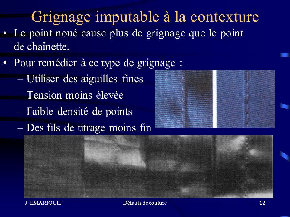 J LMARIOUHDéfauts de couture12 Grignage imputable à la contexture Le point noué cause plus de grignage que le point de chaînette. Pour remédier à ce t