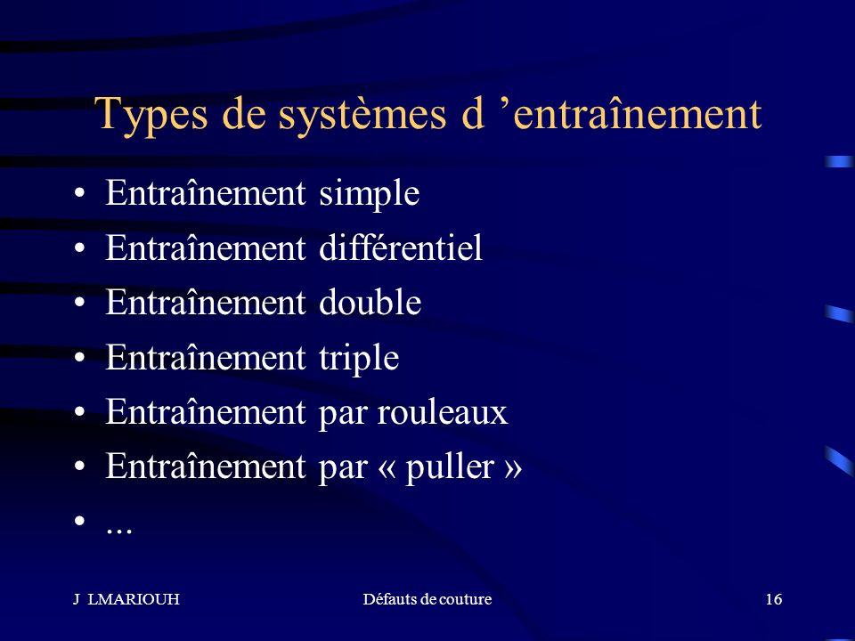 J LMARIOUHDéfauts de couture16 Types de systèmes d entraînement Entraînement simple Entraînement différentiel Entraînement double Entraînement triple