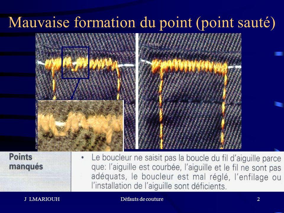 J LMARIOUHDéfauts de couture2 Mauvaise formation du point (point sauté)