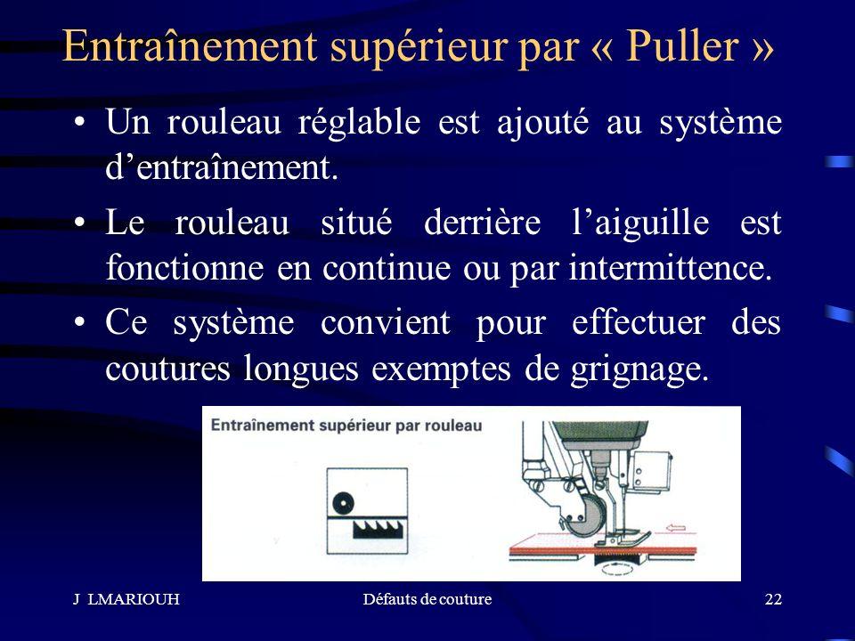 J LMARIOUHDéfauts de couture22 Entraînement supérieur par « Puller » Un rouleau réglable est ajouté au système dentraînement. Le rouleau situé derrièr