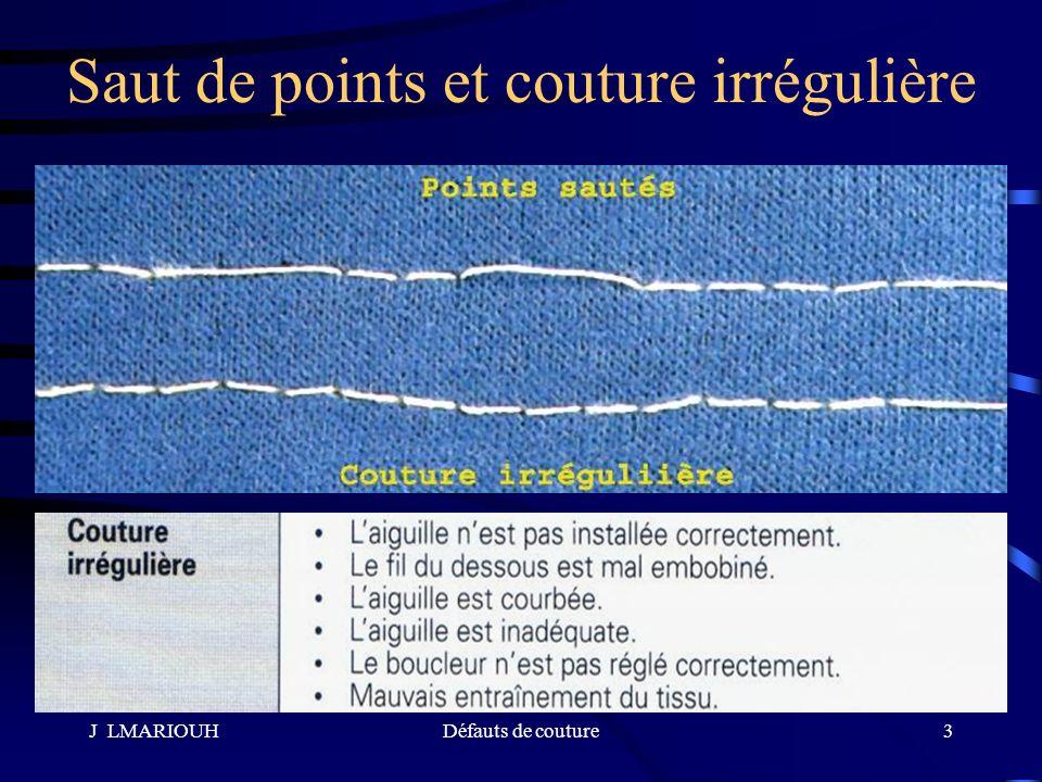 J LMARIOUHDéfauts de couture14 Grignage imputable à lentraînement de létoffe Il se manifeste par : Le décalage des couches assemblées –La couche inférieure est entraînée par les griffes –La couche supérieure est freinée par le pied presseur