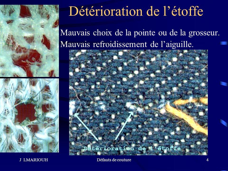 J LMARIOUHDéfauts de couture4 Détérioration de létoffe Mauvais choix de la pointe ou de la grosseur. Mauvais refroidissement de laiguille.