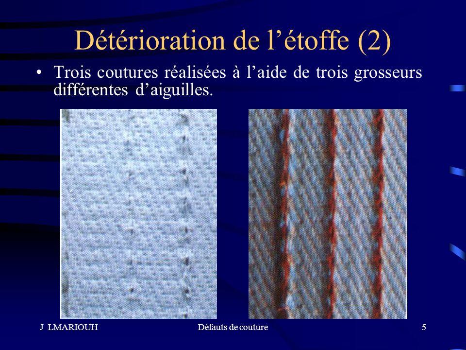 J LMARIOUHDéfauts de couture5 Trois coutures réalisées à laide de trois grosseurs différentes daiguilles. Détérioration de létoffe (2)