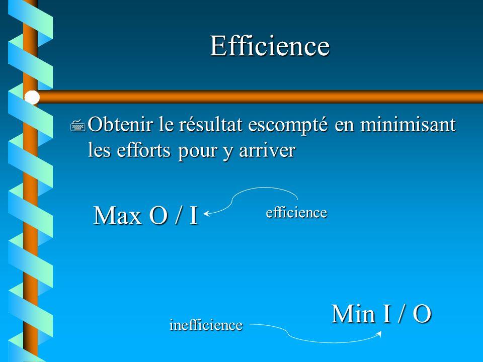 Efficience 7 Obtenir le résultat escompté en minimisant les efforts pour y arriver Max O / I Min I / O efficience inefficience