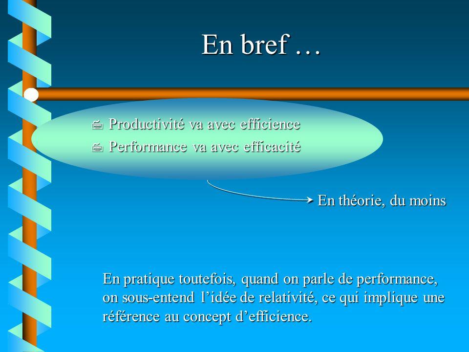 En bref … 7 Productivité va avec efficience 7 Performance va avec efficacité En pratique toutefois, quand on parle de performance, on sous-entend lidé