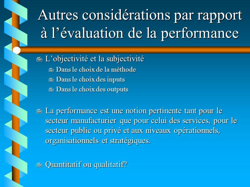 Autres considérations par rapport à lévaluation de la performance 7 Lobjectivité et la subjectivité 7 Dans le choix de la méthode 7 Dans le choix des