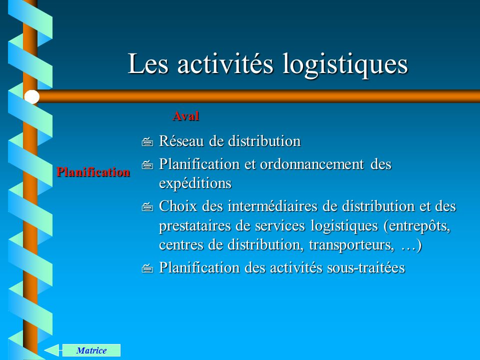Les activités logistiques 7 Réseau de distribution 7 Planification et ordonnancement des expéditions 7 Choix des intermédiaires de distribution et des