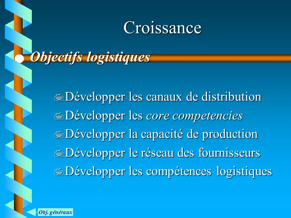 Croissance 7 Développer les canaux de distribution 7 Développer les core competencies 7 Développer la capacité de production 7 Développer le réseau de