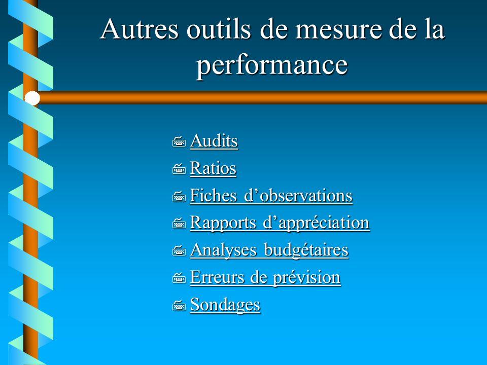 Autres outils de mesure de la performance 7 Audits Audits 7 Ratios Ratios 7 Fiches dobservations Fiches dobservations Fiches dobservations 7 Rapports