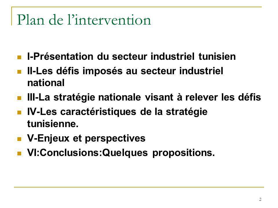 3 I-1/Physionomie Générale du secteur industriel tunisien Le secteur industriel tunisien est composé denviron12.000 entreprises dont: Environ 6000 emploient 10 personnes et plus ; Environ 45% de ces entreprises sont totalement exportatrices ; Environ 2500 sont à participation étrangère ;