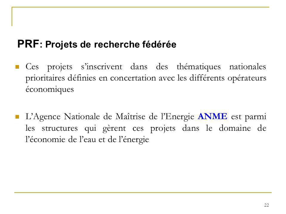 22 PRF : Projets de recherche fédérée Ces projets sinscrivent dans des thématiques nationales prioritaires définies en concertation avec les différent