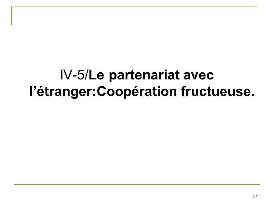 26 IV-5/Le partenariat avec létranger:Coopération fructueuse.