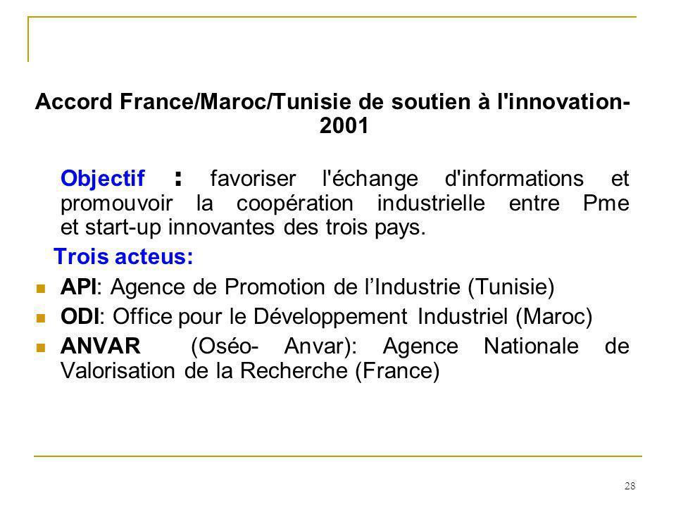 28 Accord France/Maroc/Tunisie de soutien à l'innovation- 2001 Objectif : favoriser l'échange d'informations et promouvoir la coopération industrielle