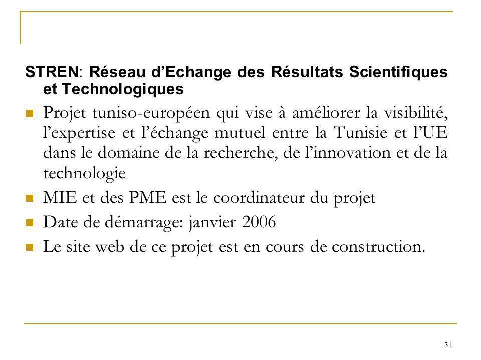 31 STREN: Réseau dEchange des Résultats Scientifiques et Technologiques Projet tuniso-européen qui vise à améliorer la visibilité, lexpertise et lécha