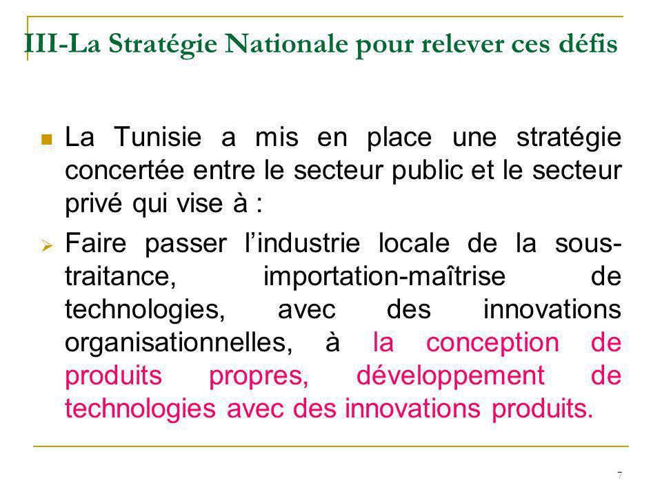 7 III-La Stratégie Nationale pour relever ces défis La Tunisie a mis en place une stratégie concertée entre le secteur public et le secteur privé qui