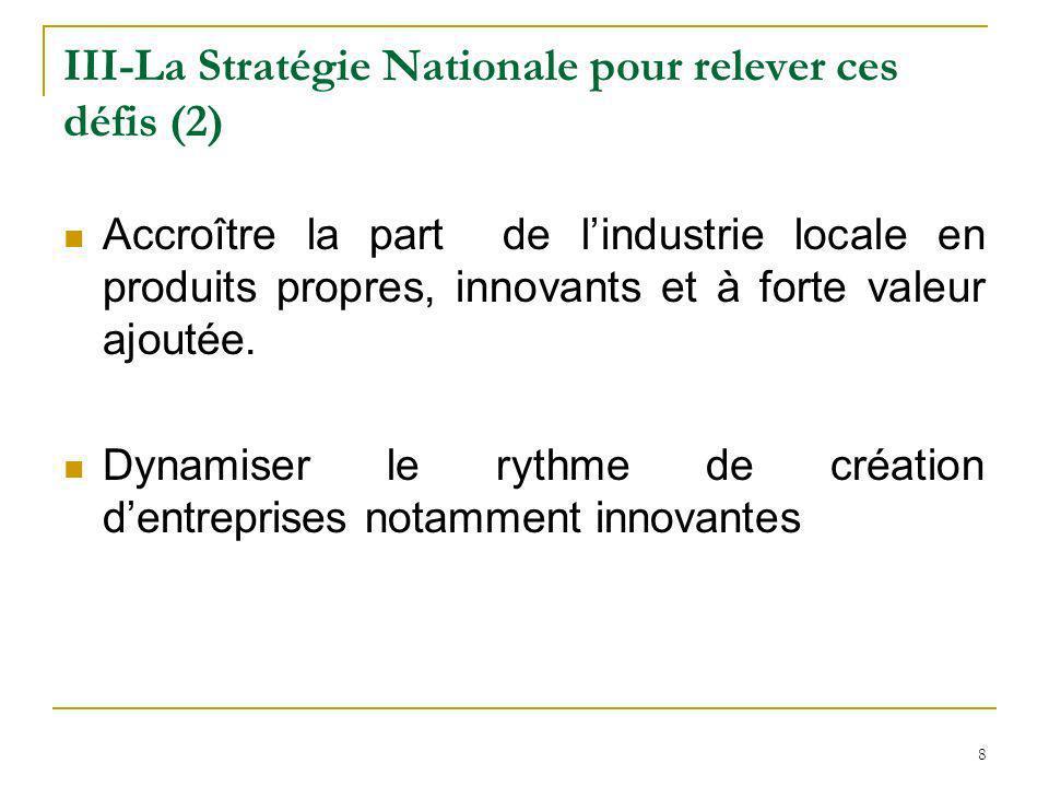 8 III-La Stratégie Nationale pour relever ces défis (2) Accroître la part de lindustrie locale en produits propres, innovants et à forte valeur ajouté