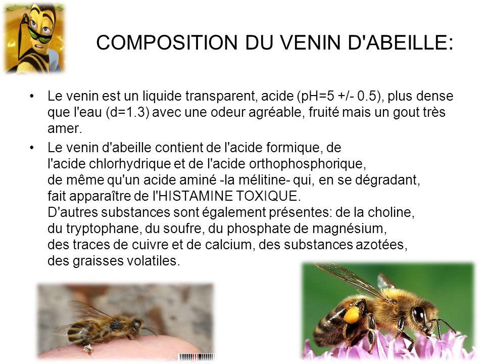 COMPOSITION DU VENIN D'ABEILLE : Le venin est un liquide transparent, acide (pH=5 +/- 0.5), plus dense que l'eau (d=1.3) avec une odeur agréable, frui