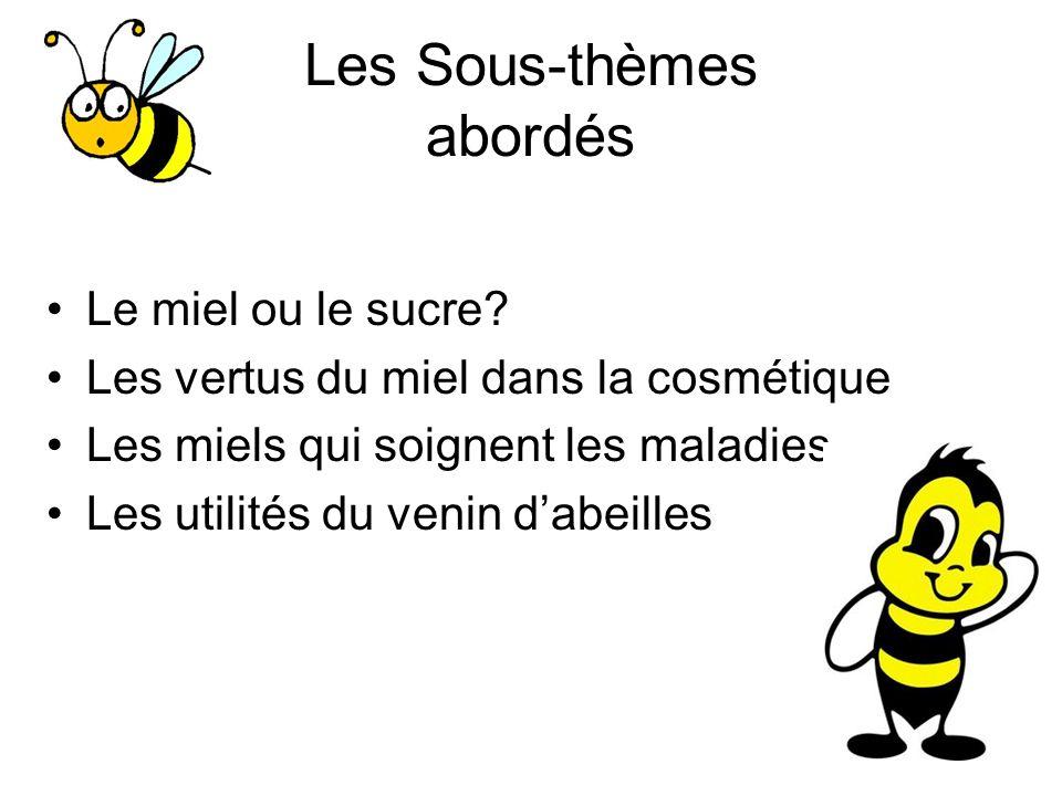 Les Sous-thèmes abordés Le miel ou le sucre? Les vertus du miel dans la cosmétique Les miels qui soignent les maladies Les utilités du venin dabeilles