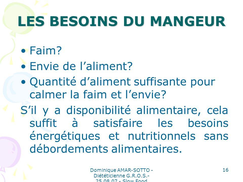 Dominique AMAR-SOTTO - Diététicienne G.R.O.S.- 25.08.07 - Slow Food 16 LES BESOINS DU MANGEUR Faim.