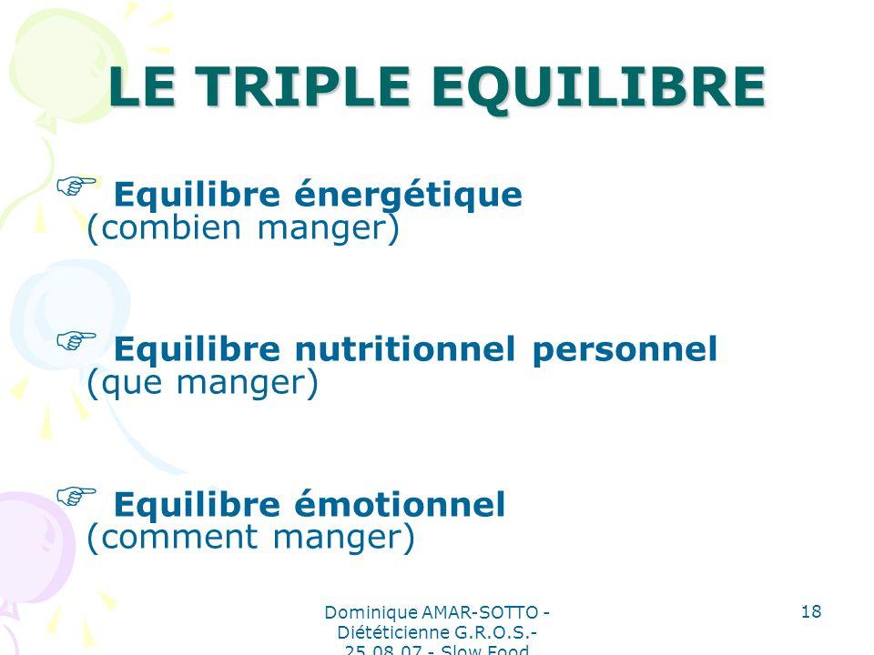 Dominique AMAR-SOTTO - Diététicienne G.R.O.S.- 25.08.07 - Slow Food 18 LE TRIPLE EQUILIBRE Equilibre énergétique (combien manger) Equilibre nutritionnel personnel (que manger) Equilibre émotionnel (comment manger)