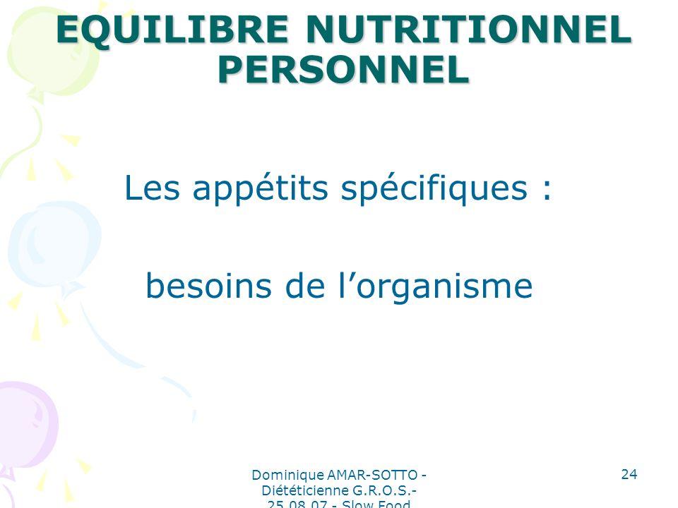 Dominique AMAR-SOTTO - Diététicienne G.R.O.S.- 25.08.07 - Slow Food 24 EQUILIBRE NUTRITIONNEL PERSONNEL Les appétits spécifiques : besoins de lorganisme
