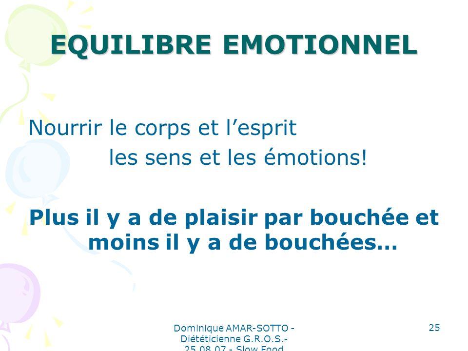 Dominique AMAR-SOTTO - Diététicienne G.R.O.S.- 25.08.07 - Slow Food 25 EQUILIBRE EMOTIONNEL Nourrir le corps et lesprit les sens et les émotions.