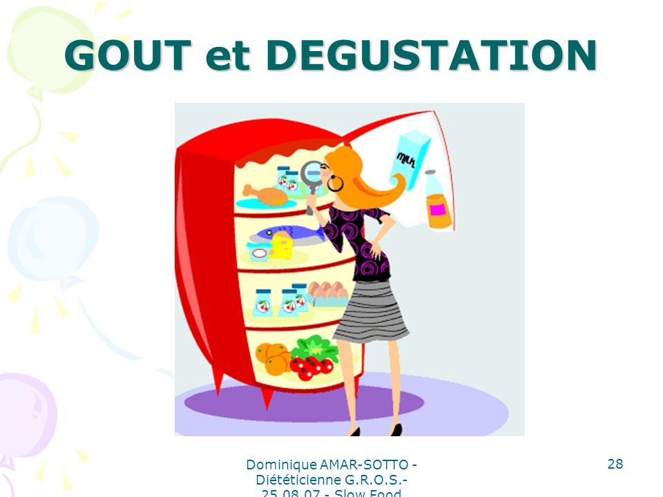 Dominique AMAR-SOTTO - Diététicienne G.R.O.S.- 25.08.07 - Slow Food 28 GOUT et DEGUSTATION
