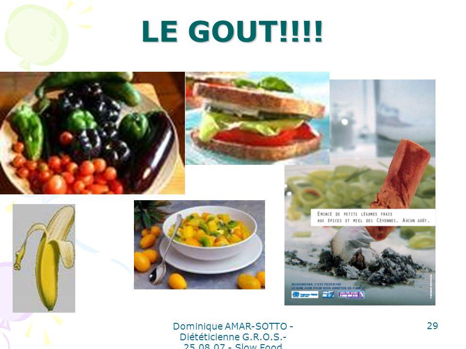 Dominique AMAR-SOTTO - Diététicienne G.R.O.S.- 25.08.07 - Slow Food 29 LE GOUT!!!!