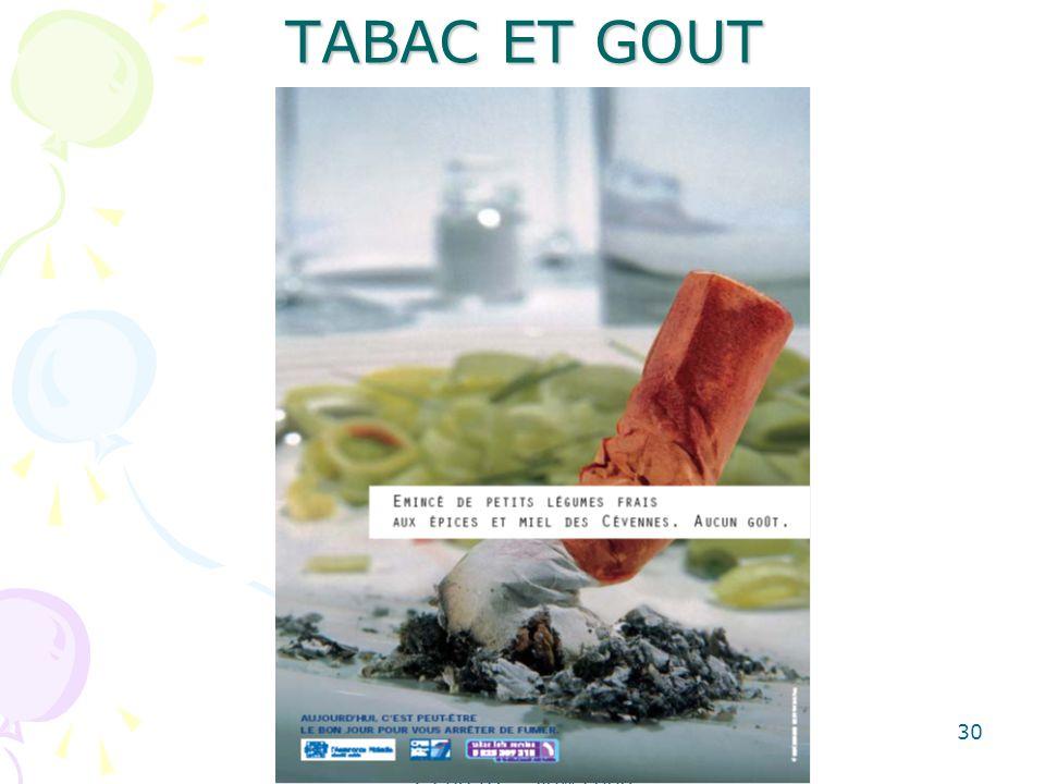 Dominique AMAR-SOTTO - Diététicienne G.R.O.S.- 25.08.07 - Slow Food 30 TABAC ET GOUT