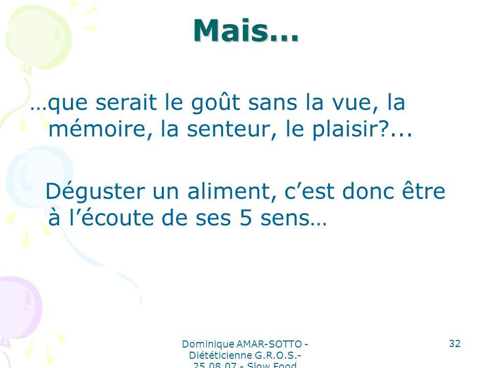 Dominique AMAR-SOTTO - Diététicienne G.R.O.S.- 25.08.07 - Slow Food 32 Mais… …que serait le goût sans la vue, la mémoire, la senteur, le plaisir?...