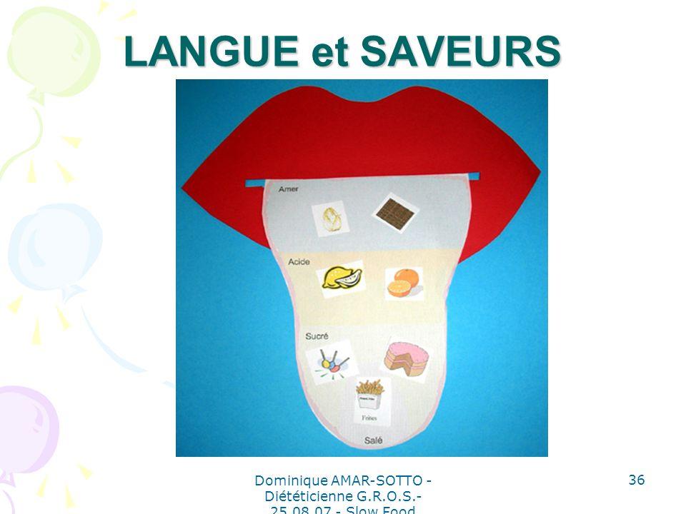 Dominique AMAR-SOTTO - Diététicienne G.R.O.S.- 25.08.07 - Slow Food 36 LANGUE et SAVEURS