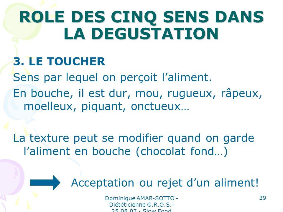 Dominique AMAR-SOTTO - Diététicienne G.R.O.S.- 25.08.07 - Slow Food 39 ROLE DES CINQ SENS DANS LA DEGUSTATION 3.