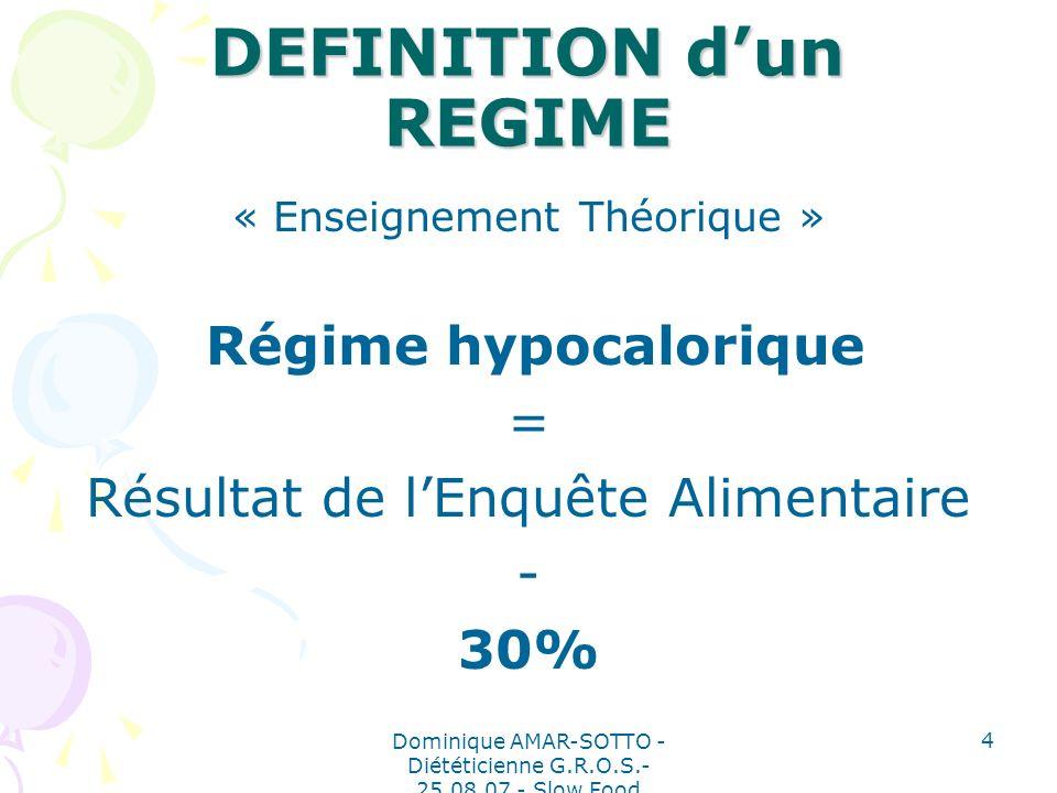 Dominique AMAR-SOTTO - Diététicienne G.R.O.S.- 25.08.07 - Slow Food 4 DEFINITION dun REGIME « Enseignement Théorique » Régime hypocalorique = Résultat de lEnquête Alimentaire - 30%