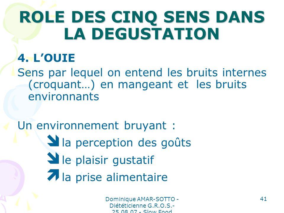Dominique AMAR-SOTTO - Diététicienne G.R.O.S.- 25.08.07 - Slow Food 41 ROLE DES CINQ SENS DANS LA DEGUSTATION 4.