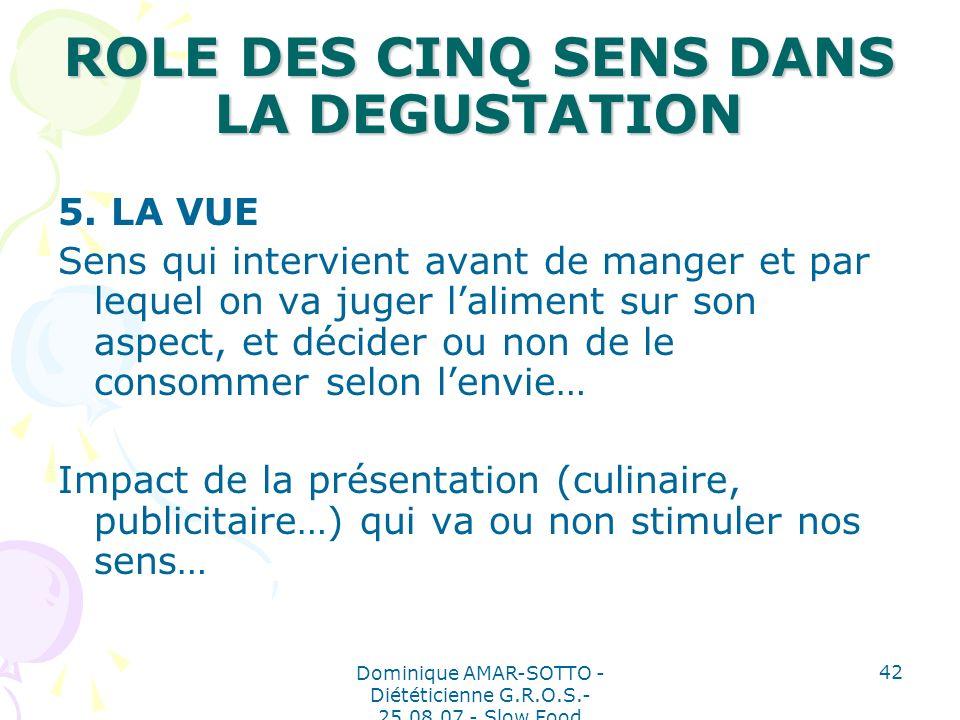 Dominique AMAR-SOTTO - Diététicienne G.R.O.S.- 25.08.07 - Slow Food 42 ROLE DES CINQ SENS DANS LA DEGUSTATION 5.