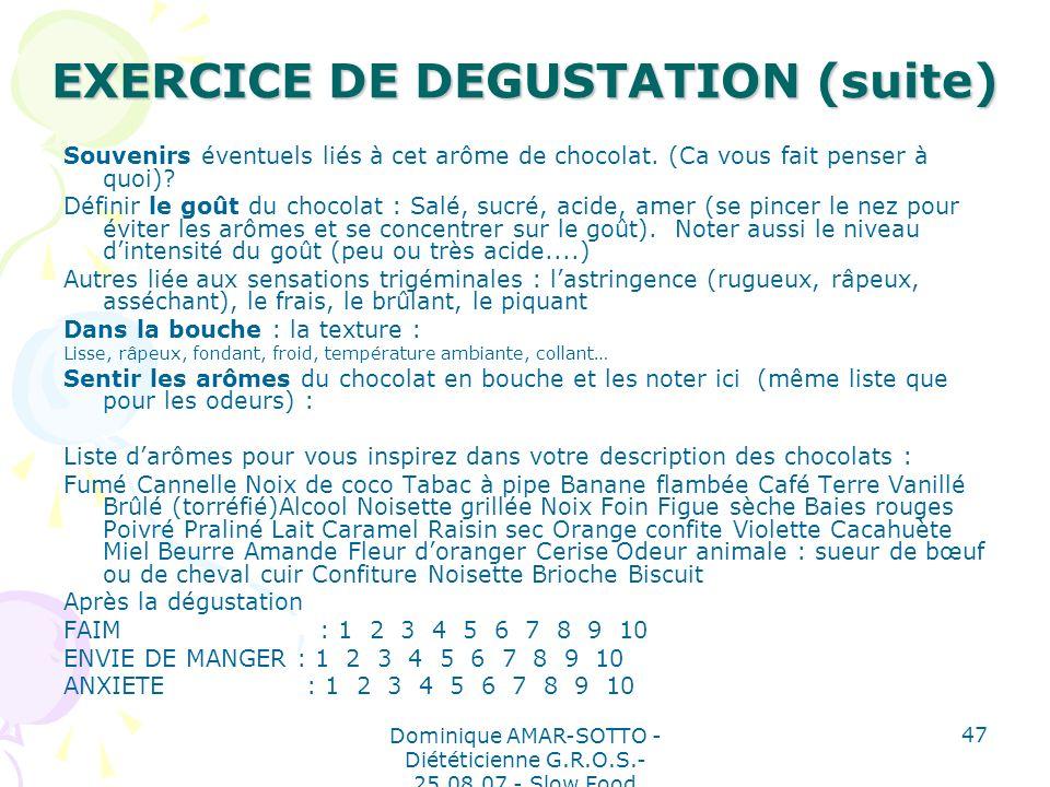 Dominique AMAR-SOTTO - Diététicienne G.R.O.S.- 25.08.07 - Slow Food 47 EXERCICE DE DEGUSTATION (suite) Souvenirs éventuels liés à cet arôme de chocolat.