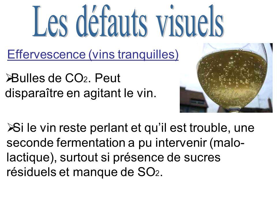 Effervescence (vins tranquilles) Bulles de CO 2.Peut disparaître en agitant le vin.