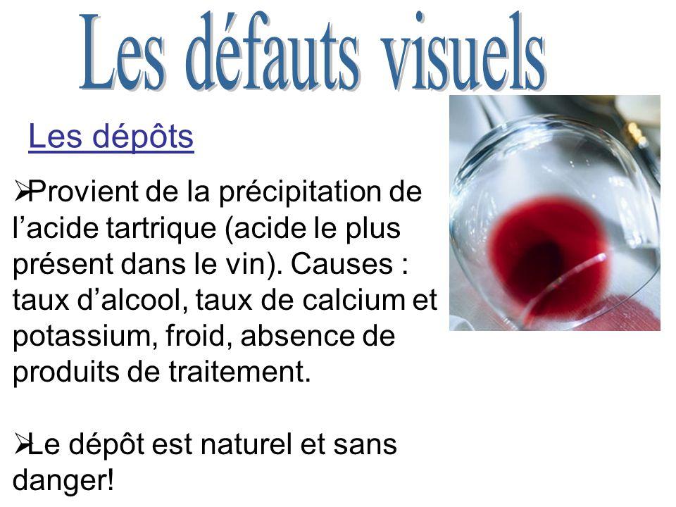 Les dépôts Provient de la précipitation de lacide tartrique (acide le plus présent dans le vin).