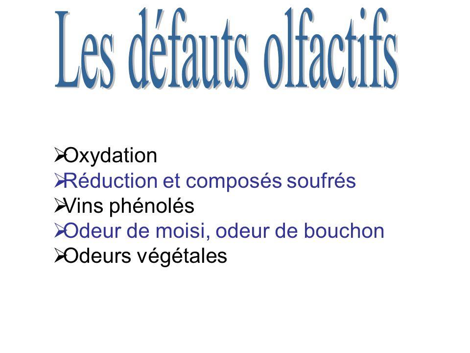 Oxydation Réduction et composés soufrés Vins phénolés Odeur de moisi, odeur de bouchon Odeurs végétales