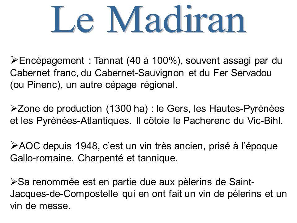 Encépagement : Tannat (40 à 100%), souvent assagi par du Cabernet franc, du Cabernet-Sauvignon et du Fer Servadou (ou Pinenc), un autre cépage régional.
